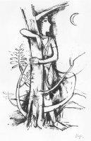 Mädchen am Baum mit Mond