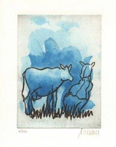 Die blaue Kuh (auf der Weide)
