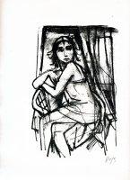 Im Korbsessel sitzendes Mädchen